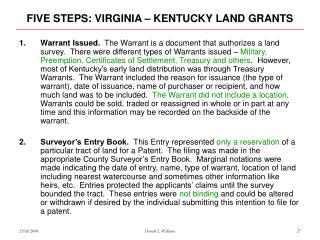 FIVE STEPS: VIRGINIA – KENTUCKY LAND GRANTS
