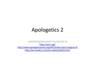 Apologetics 2