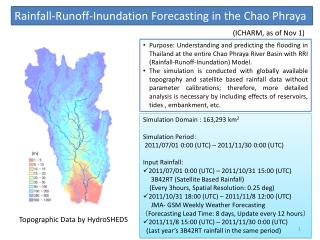 Rainfall-Runoff-Inundation Forecasting in the Chao Phraya