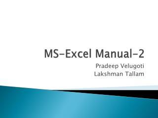 MS-Excel Manual-2