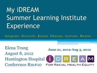 My iDREAM Summer Learning Institute Experience