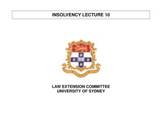 INSOLVENCY LECTURE 10