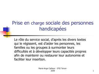Prise en charge sociale des personnes handicap es