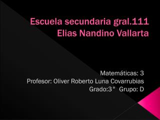 Escuela secundaria gral.111 Elias Nandino Vallarta