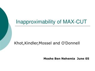 Inapproximability of MAX-CUT