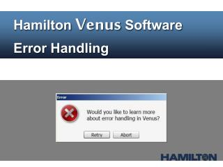 Hamilton  Venus  Software Error  Handling