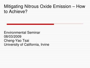 Mitigating Nitrous Oxide Emission – How  to Achieve?
