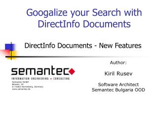 Googalize your Search with DirectInfo Documents