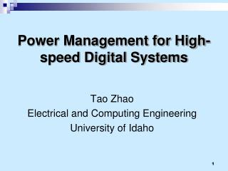 Power Management for High-speed Digital Systems