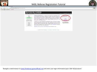 NHSL Referee Registration Tutorial