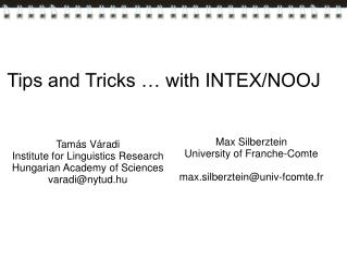 Tips and Tricks … with INTEX/NOOJ