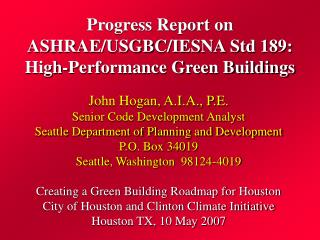 Progress Report on ASHRAE