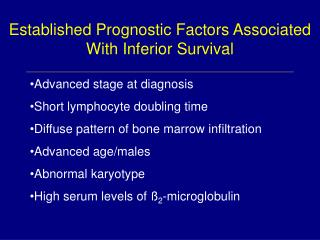 Established Prognostic Factors Associated With Inferior Survival