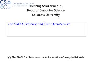 The SIMPLE Presence and Event Architecture