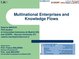Multinational Enterprises and Knowledge Flows