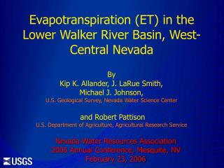Evapotranspiration (ET) in the Lower Walker River Basin, West-Central Nevada