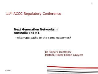 11 th  ACCC Regulatory Conference