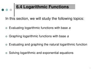 6.4 Logarithmic Functions