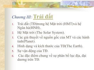 Chương III:  Trái đất