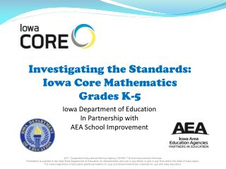 Investigating the Standards:  Iowa Core Mathematics  Grades K-5