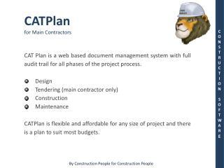 CATPlan for Main Contractors