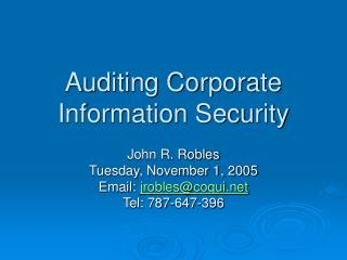 Auditing Corporate Information Security