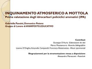 Contributi  Giuseppe  D'Auria  - Elaborazione dei dati