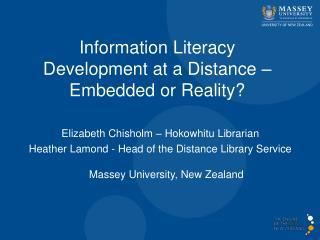 Elizabeth Chisholm �  Hokowhitu  Librarian