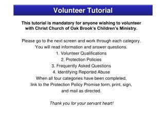 Volunteer Tutorial
