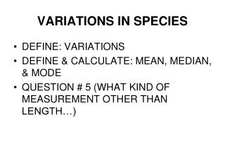 VARIATIONS IN SPECIES