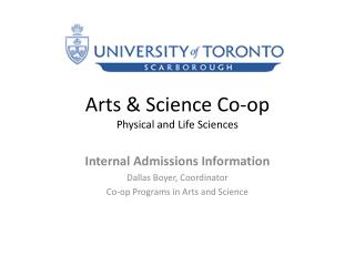 Arts & Science Co-op Physical and Life Sciences
