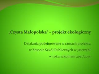 """""""Czysta Małopolska"""" – projekt ekologiczny"""