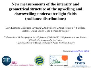 "What do we call the underwater ""radiance distribution""?  Why measuring radiance distributions?"