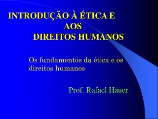 INTRODUÇÃO À ÉTICA E              AOS DIREITOS HUMANOS