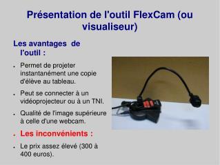 Présentation de l'outil  FlexCam  (ou  visualiseur )