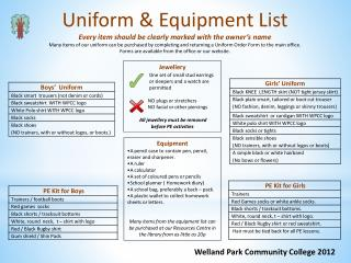 Uniform  & Equipment  List Every  item should be clearly marked with the owner's name