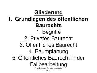 Gliederung I.  Grundlagen des  ffentlichen Baurechts 1. Begriffe 2. Privates Baurecht 3.  ffentliches Baurecht 4. Raumpl