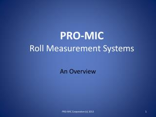 PRO-MIC Roll Measurement Systems