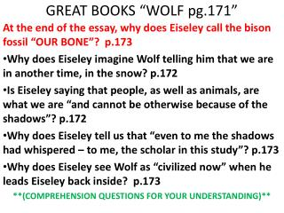 GREAT BOOKS �WOLF pg.171�