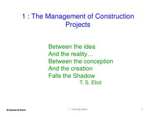 1 : The Management of Construction Projects