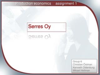 Production economics	assignment 1