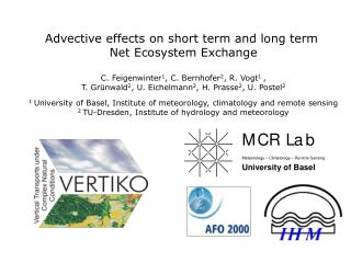 Advective effects on short term and long term  Net Ecosystem Exchange