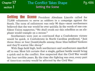 The Conflict Takes Shape Setting the Scene