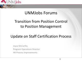 Joyce McCarthy Program Operations Director HR Process Improvements