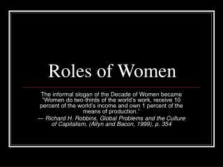 Roles of Women