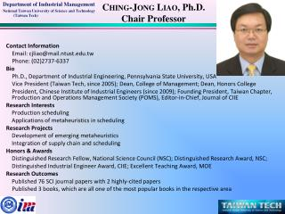 Ching-Jong  Liao , Ph.D. Chair Professor
