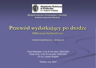 Przewód wydatkujący po drodze Obliczenia hydrauliczne materiał dydaktyczny - wersja 2.6