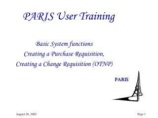 PARIS User Training