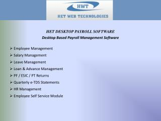Desktop Based  Payroll Management Software