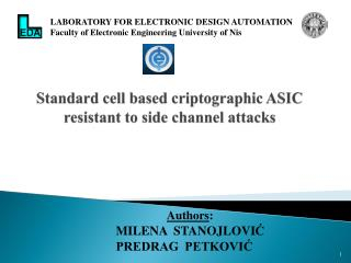 Standard cell based criptographic ASIC resistant to side channel attacks